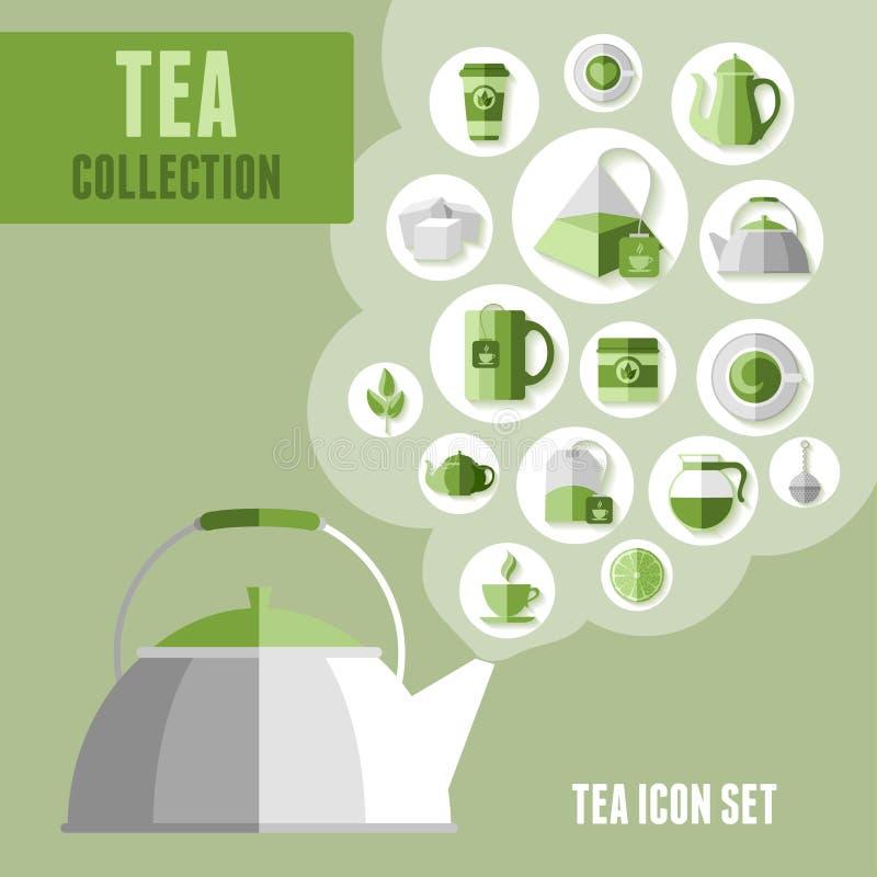 Icone del tè impostate illustrazione vettoriale