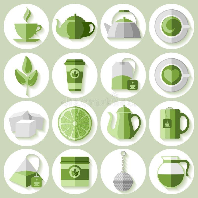 Icone del tè impostate royalty illustrazione gratis
