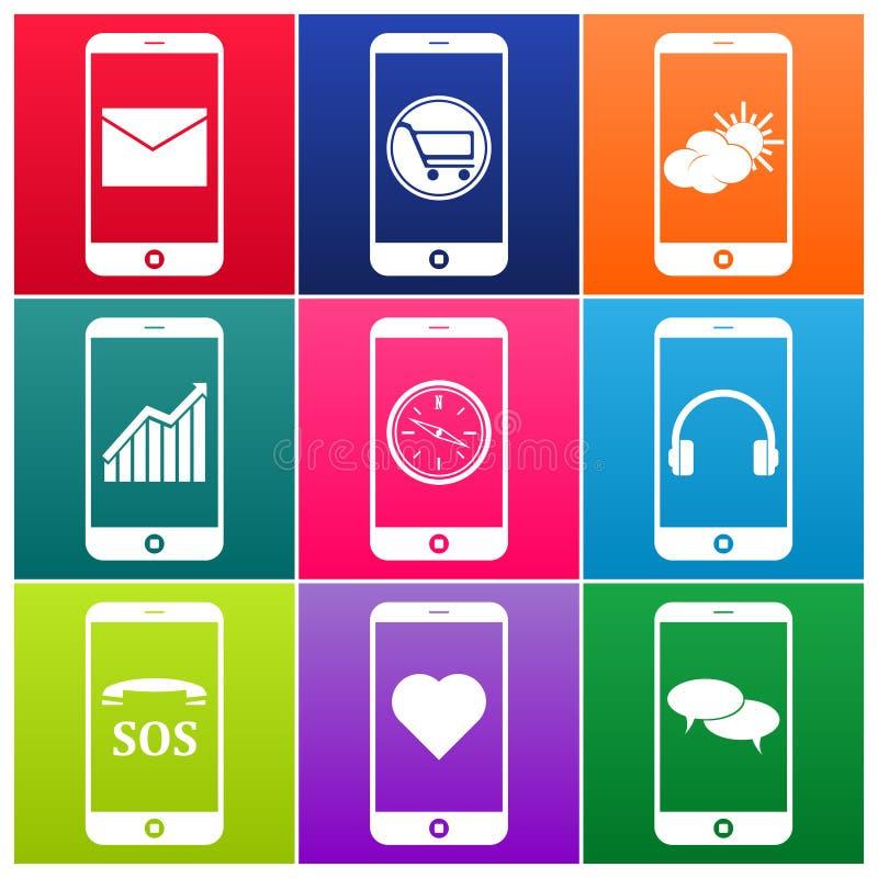 Icone del telefono cellulare di vettore royalty illustrazione gratis