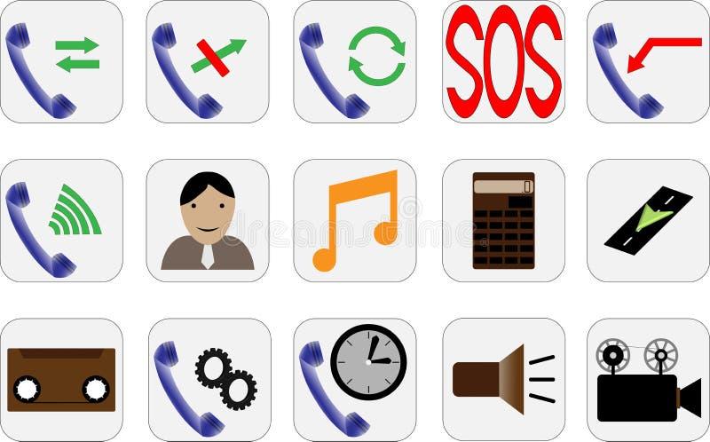 Icone del telefono di bello differente fotografie stock