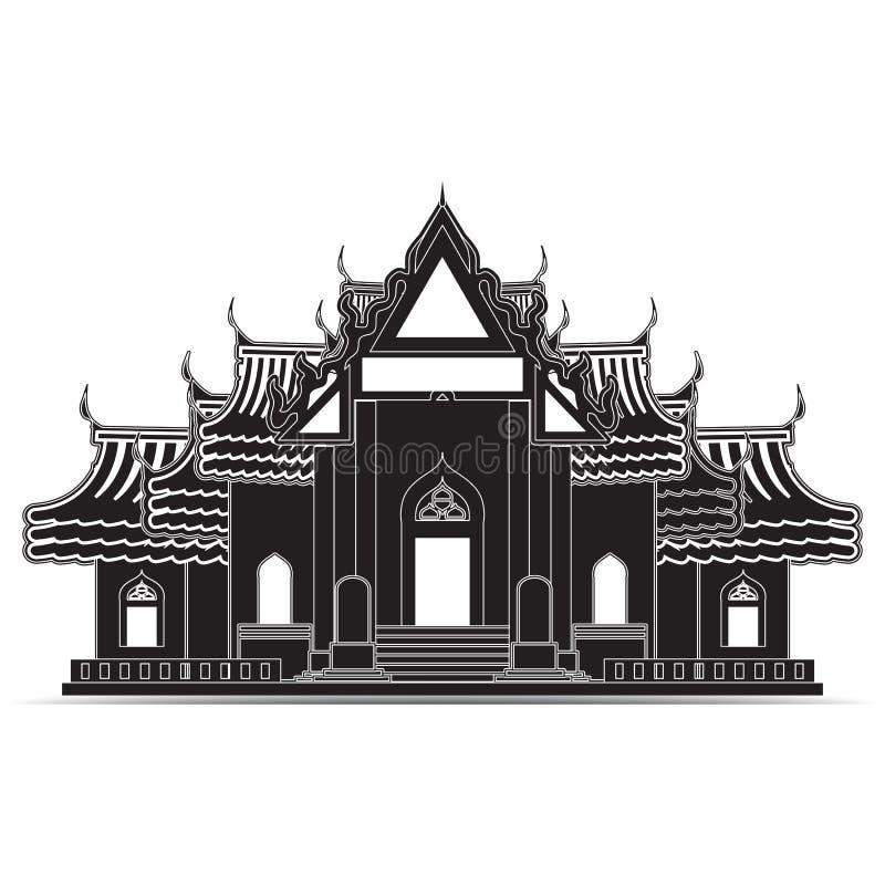 Icone del tempio della Tailandia, simbolo illustrazione di stock