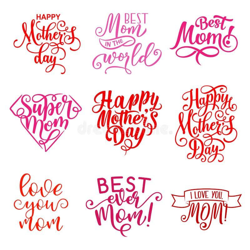 Icone del testo di saluto di festa di giorno di madre di vettore royalty illustrazione gratis