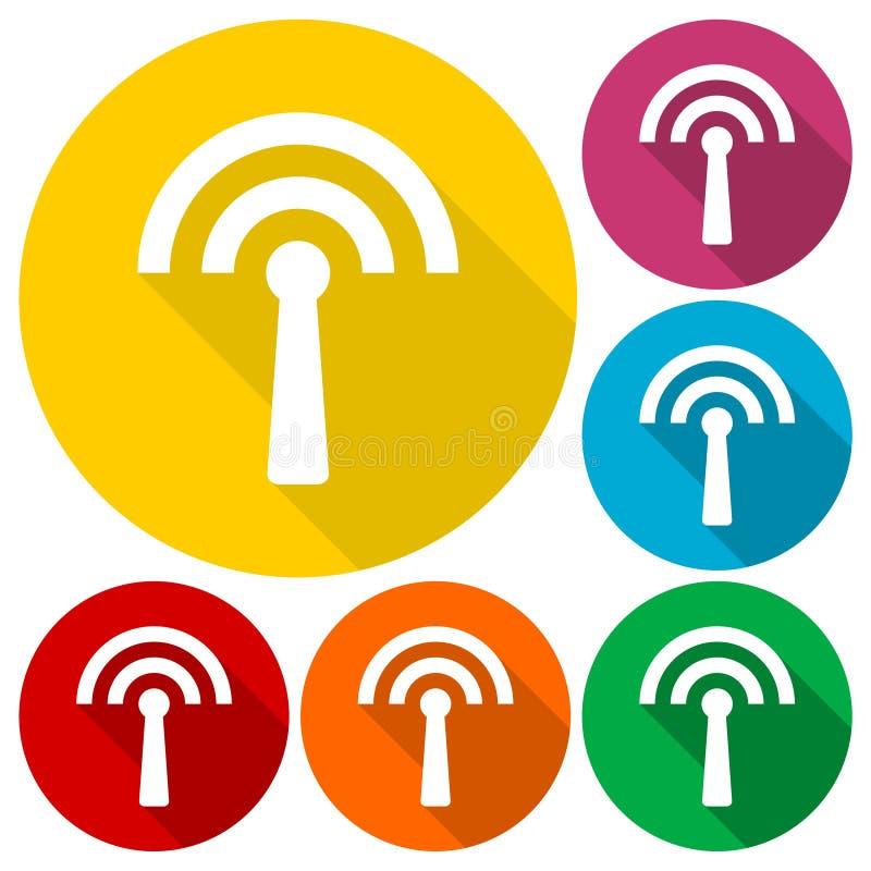 Icone del trasmettitore messe con ombra lunga illustrazione di stock