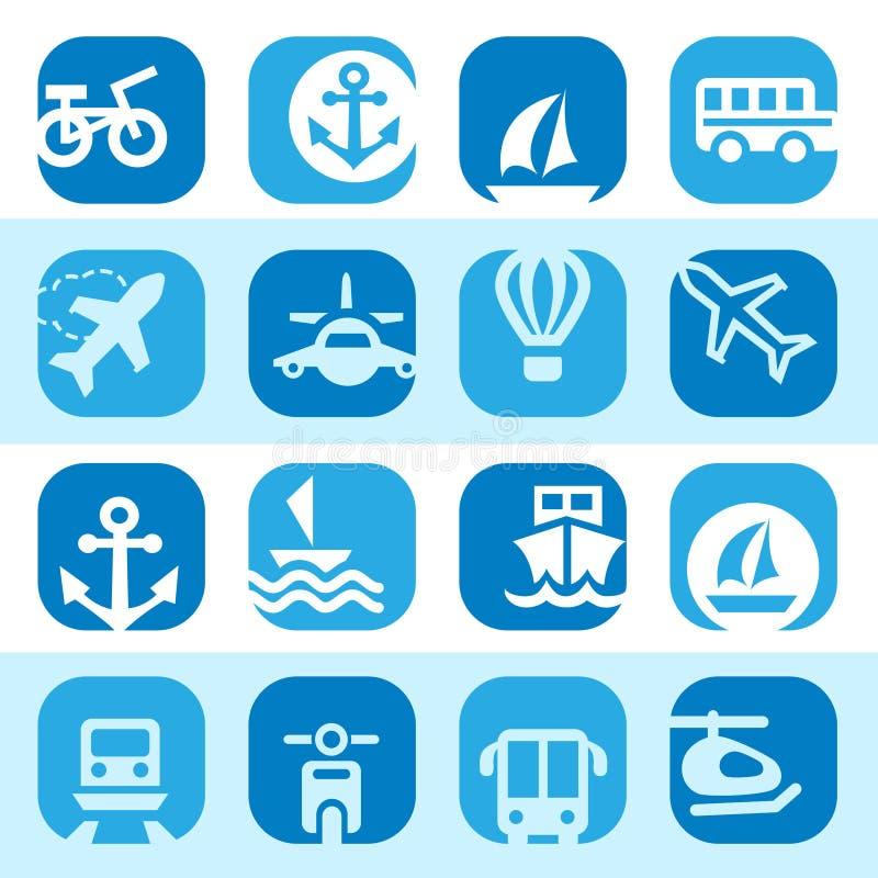 Icone del trasporto di colore impostate illustrazione vettoriale