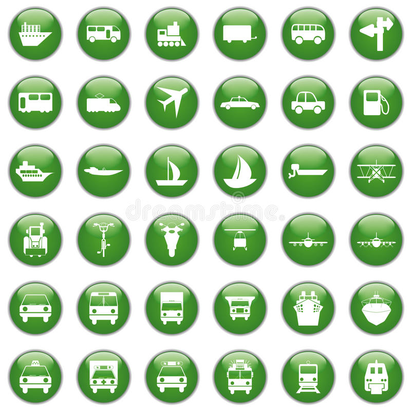 Icone del trasporto impostate illustrazione di stock