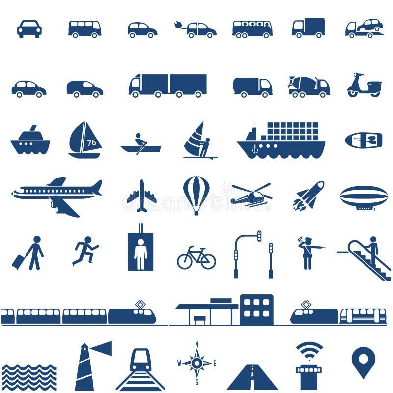 Icone del trasporto impostate illustrazione vettoriale