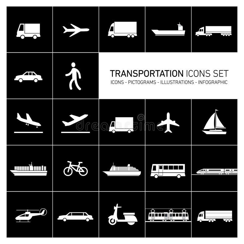 Icone del trasporto impostate royalty illustrazione gratis