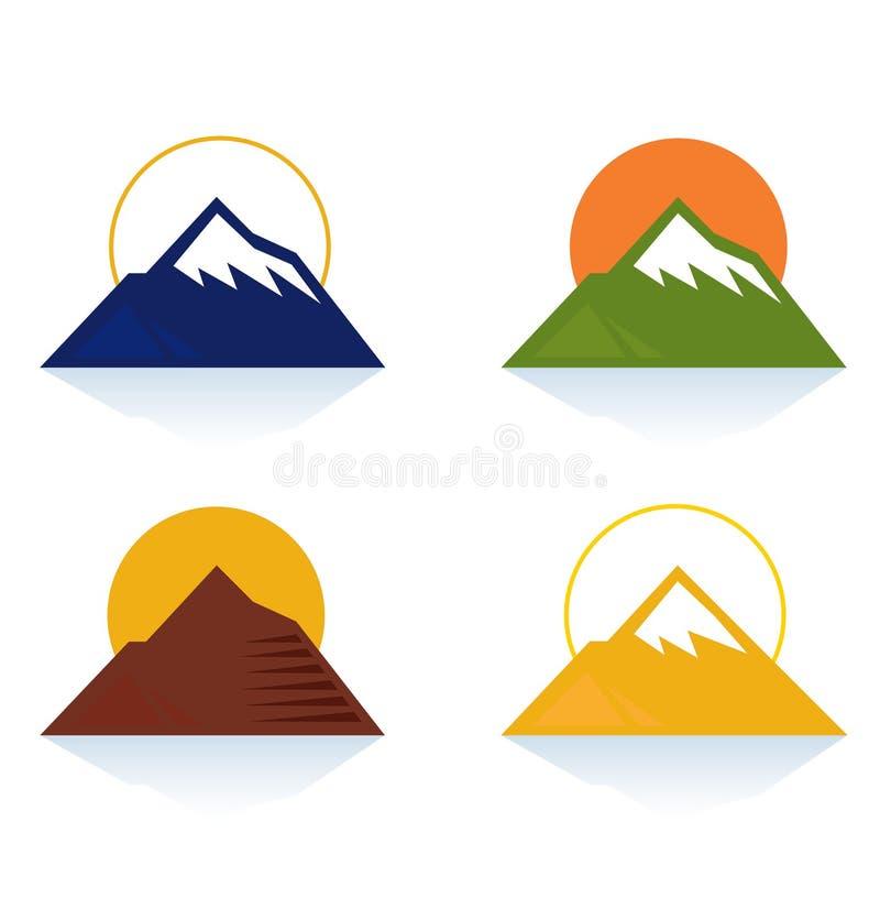 Icone del turista e della montagna isolate su bianco