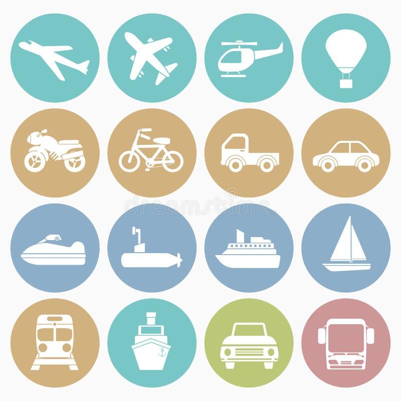 Icone del veicolo messe illustrazione di stock
