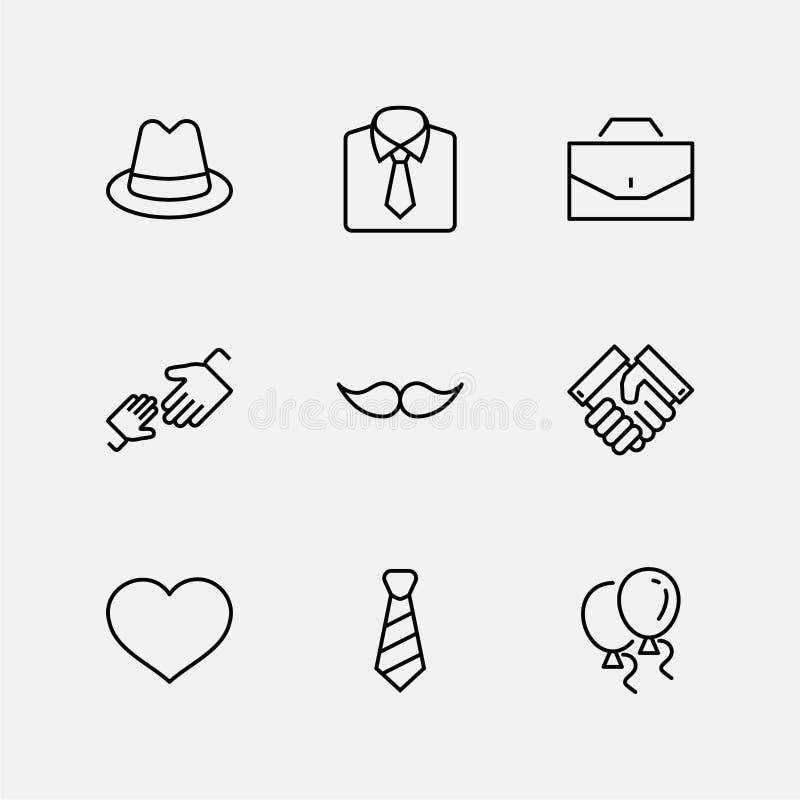 Icone del vettore di linea impostato per il giorno padre Contiene icone come Mustache, cravatta, camicia, stretta di mano, diplom royalty illustrazione gratis