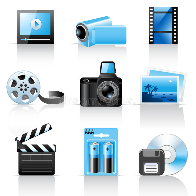 Icone del video e della foto royalty illustrazione gratis