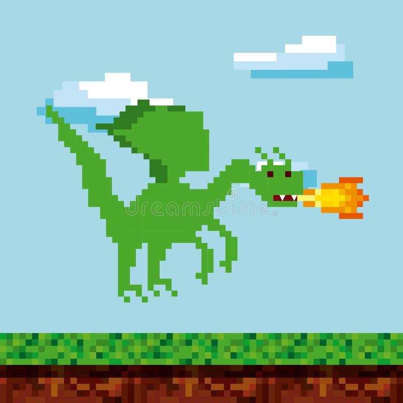 Icone del video gioco di Pixelated illustrazione di stock