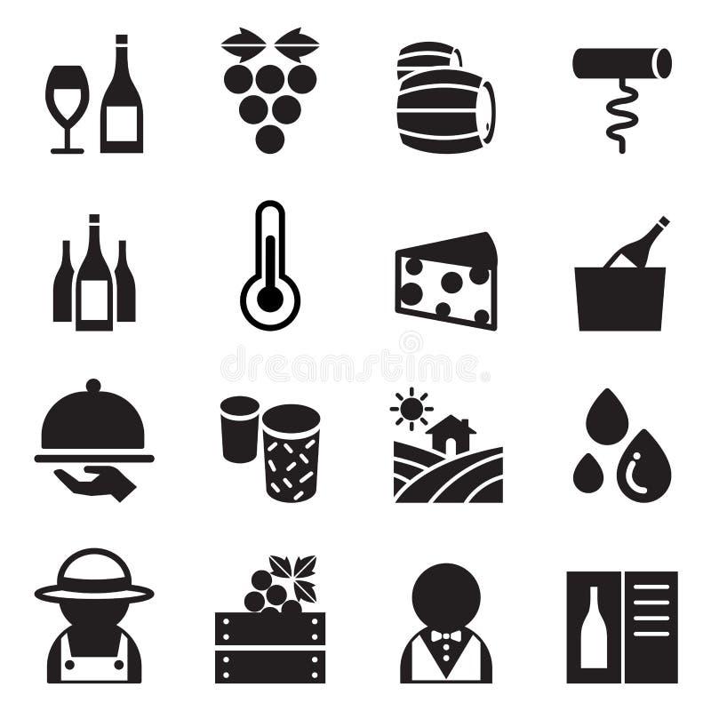 Icone del vino impostate illustrazione vettoriale