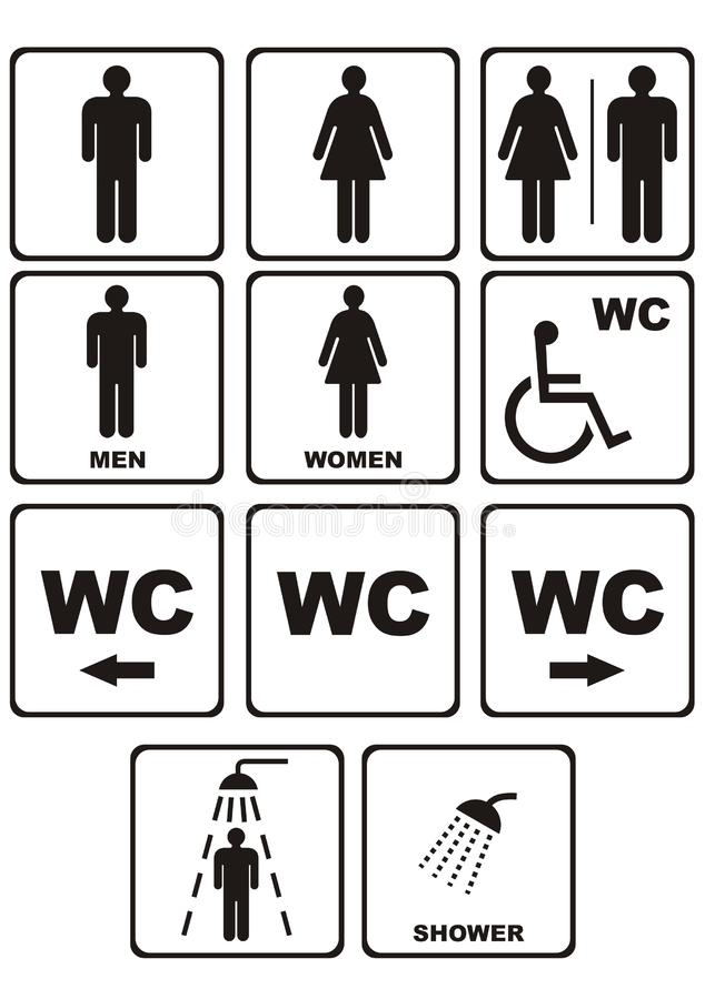 Icone del Wc su bianco illustrazione di stock