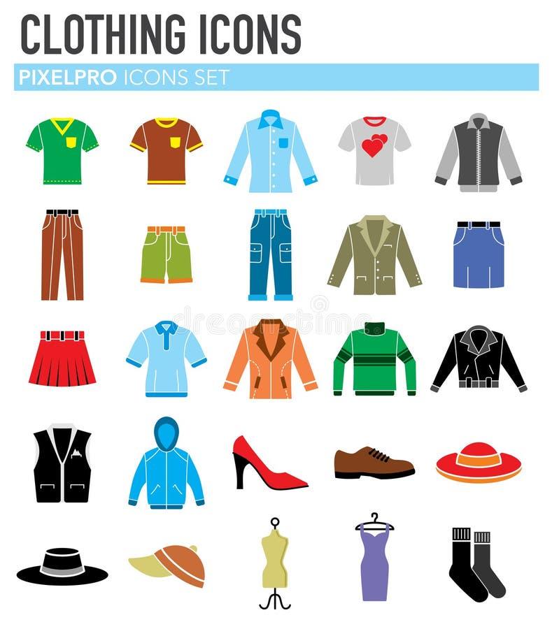 Icone dell'abbigliamento messe su fondo bianco per il grafico ed il web design Segno semplice di vettore Simbolo di concetto di I illustrazione di stock