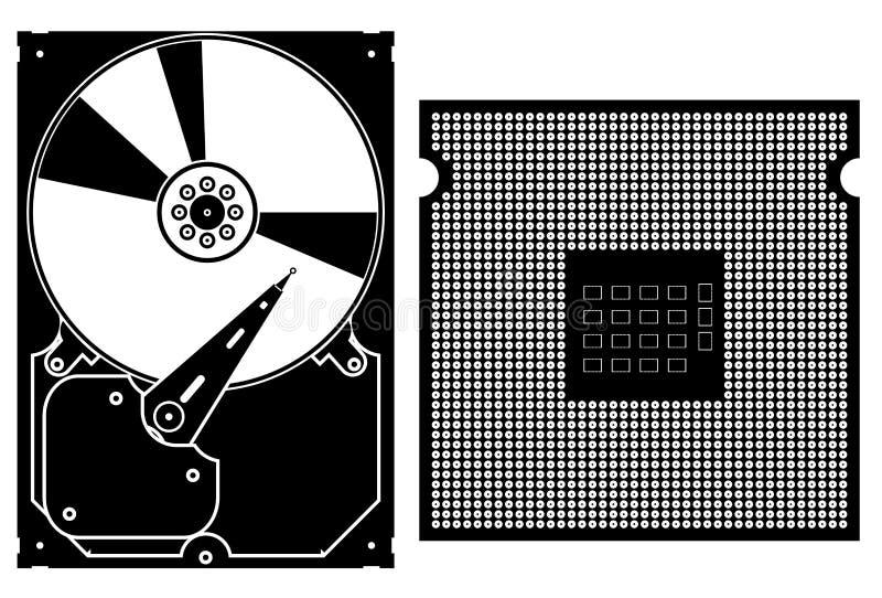 Icone dell'accumulazione di vettore. Icone dell'hardware di calcolatore. illustrazione di stock