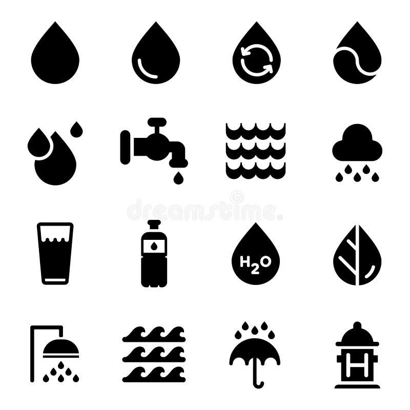 Icone dell'acqua di vettore messe su fondo bianco illustrazione vettoriale