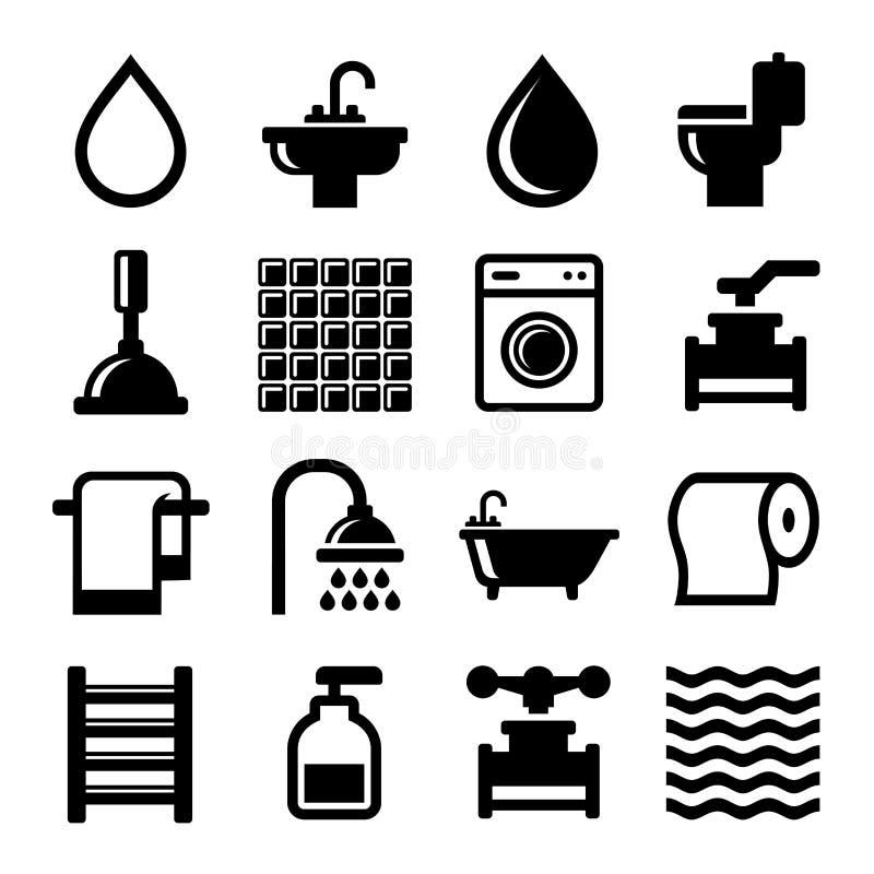 Icone dell'acqua e del bagno messe Vettore royalty illustrazione gratis