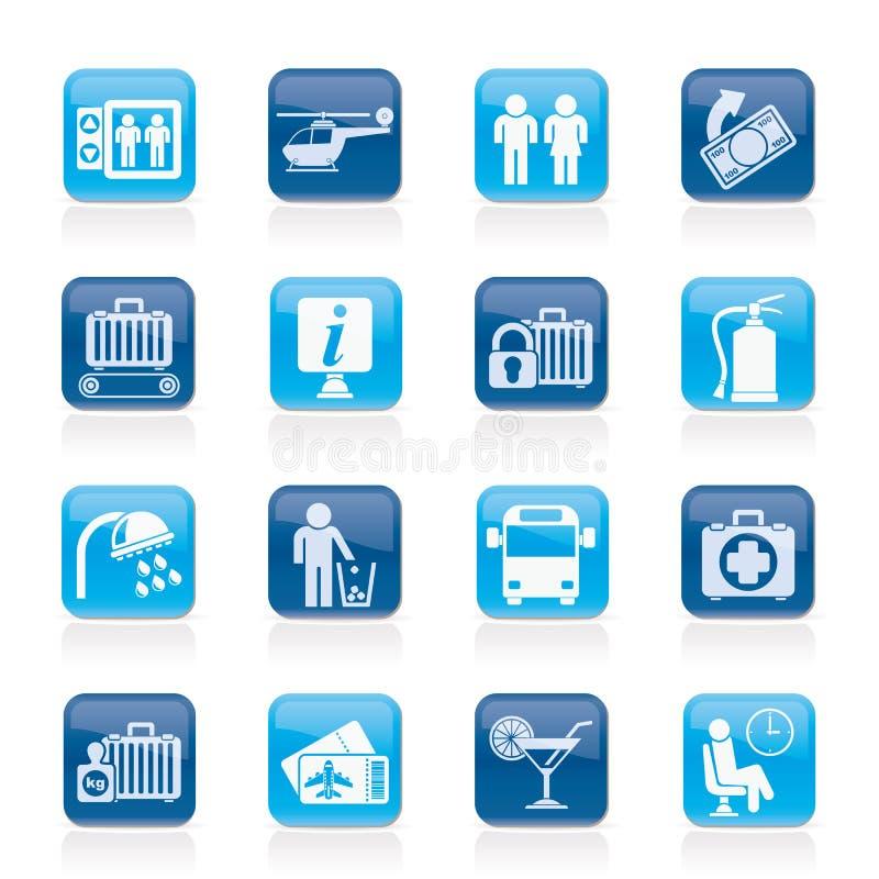 Icone dell'aeroporto, di viaggio e del trasporto royalty illustrazione gratis