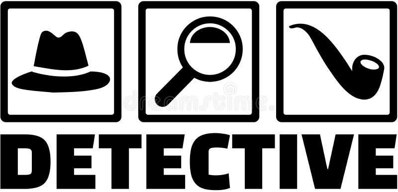 Icone dell'agente investigativo - cappello, lente d'ingrandimento, tubo illustrazione di stock