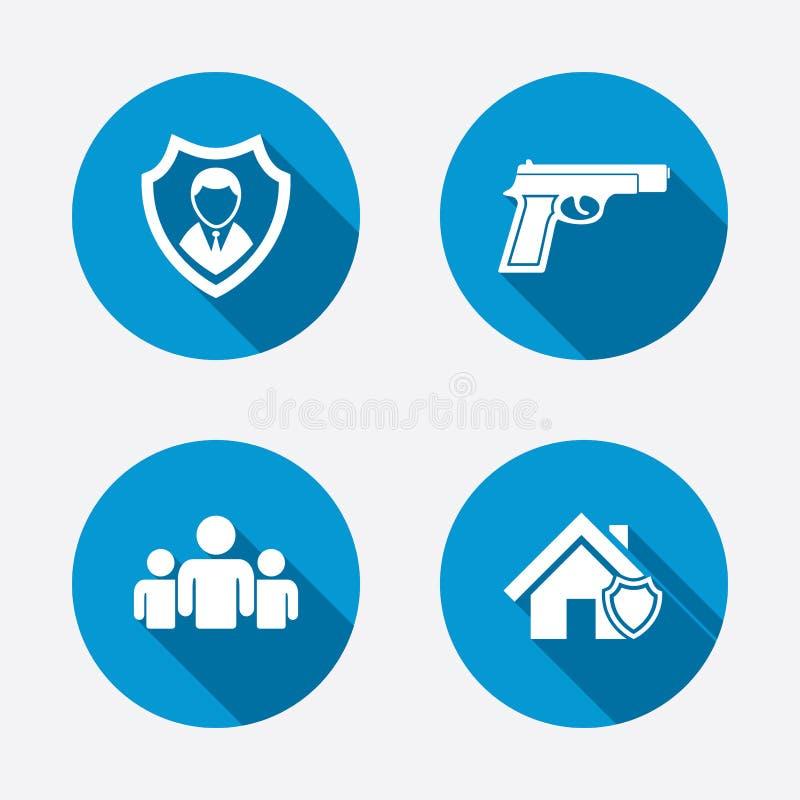 Icone dell'agenzia di sicurezza Protezione domestica dello schermo illustrazione vettoriale
