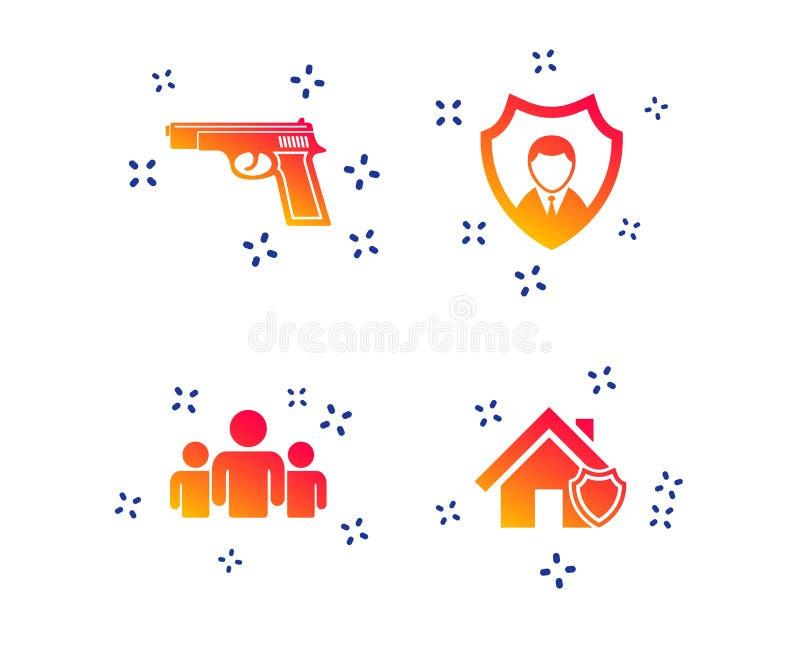 Icone dell'agenzia di sicurezza Protezione domestica dello schermo Vettore illustrazione vettoriale