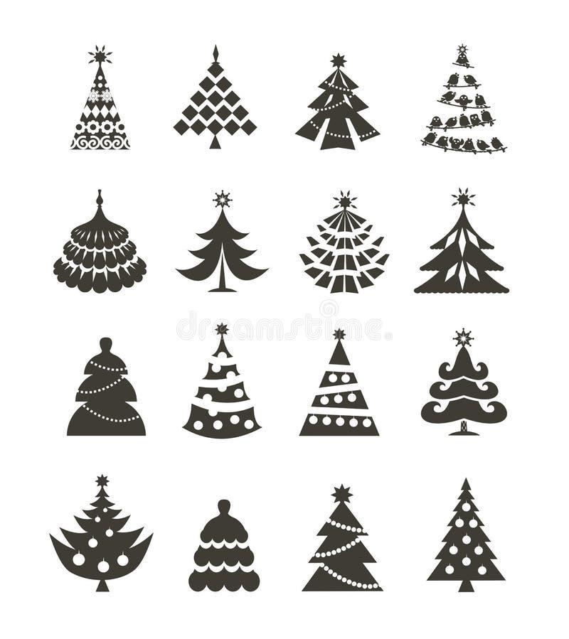Icone dell'albero di Natale illustrazione vettoriale
