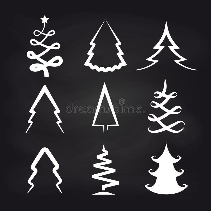 Icone dell'albero di natale bianco sulla lavagna illustrazione di stock