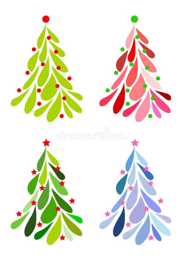 Icone dell'albero di Natale impostate royalty illustrazione gratis