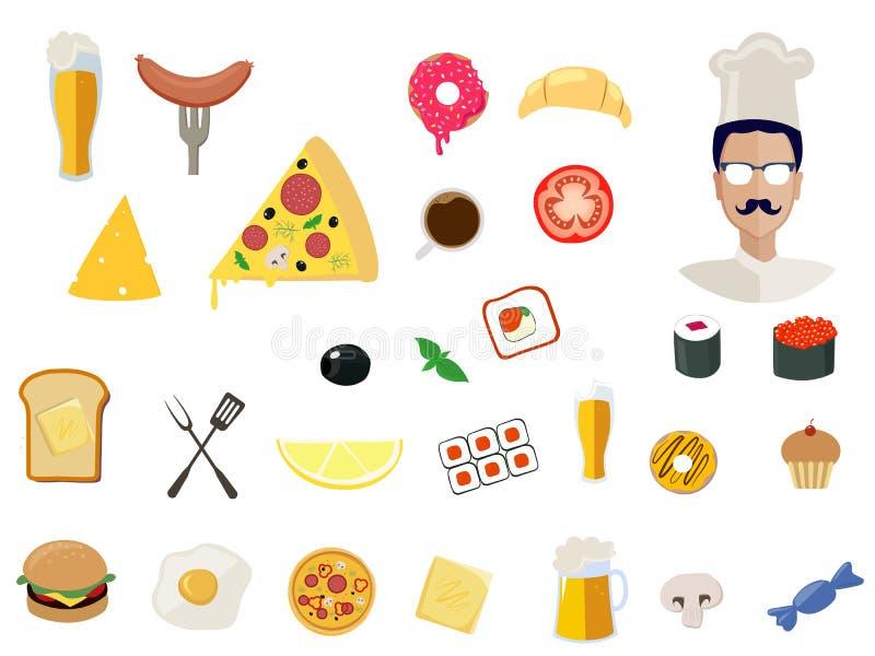 Icone dell'alimento di vettore per il ristorante su fondo royalty illustrazione gratis
