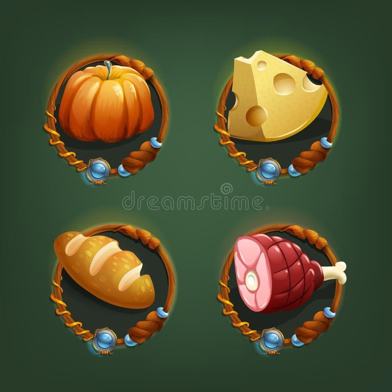 Icone dell'alimento per i giochi royalty illustrazione gratis