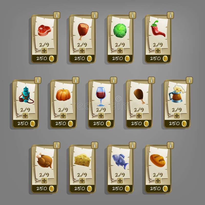 Icone dell'alimento per i giochi illustrazione vettoriale
