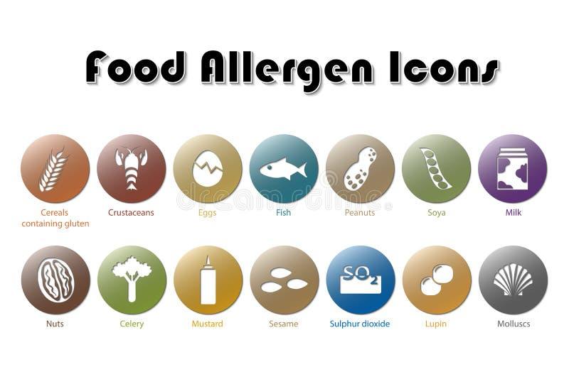Icone dell'allergene dell'alimento illustrazione di stock