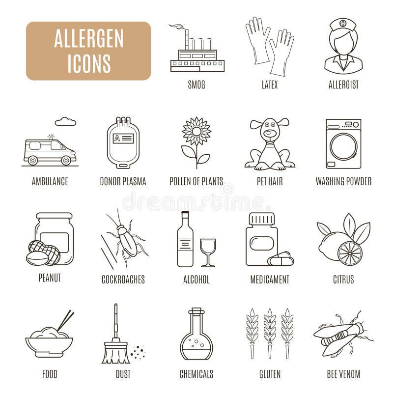 Icone dell'allergene Insieme del pittogramma di vettore illustrazione vettoriale