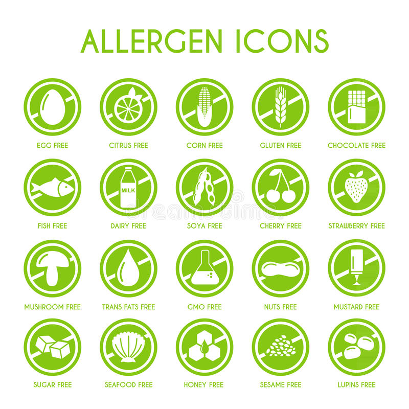 Icone dell'allergene messe illustrazione di stock