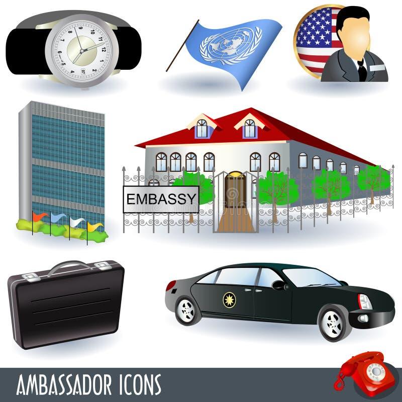 Icone dell'ambasciatore illustrazione di stock