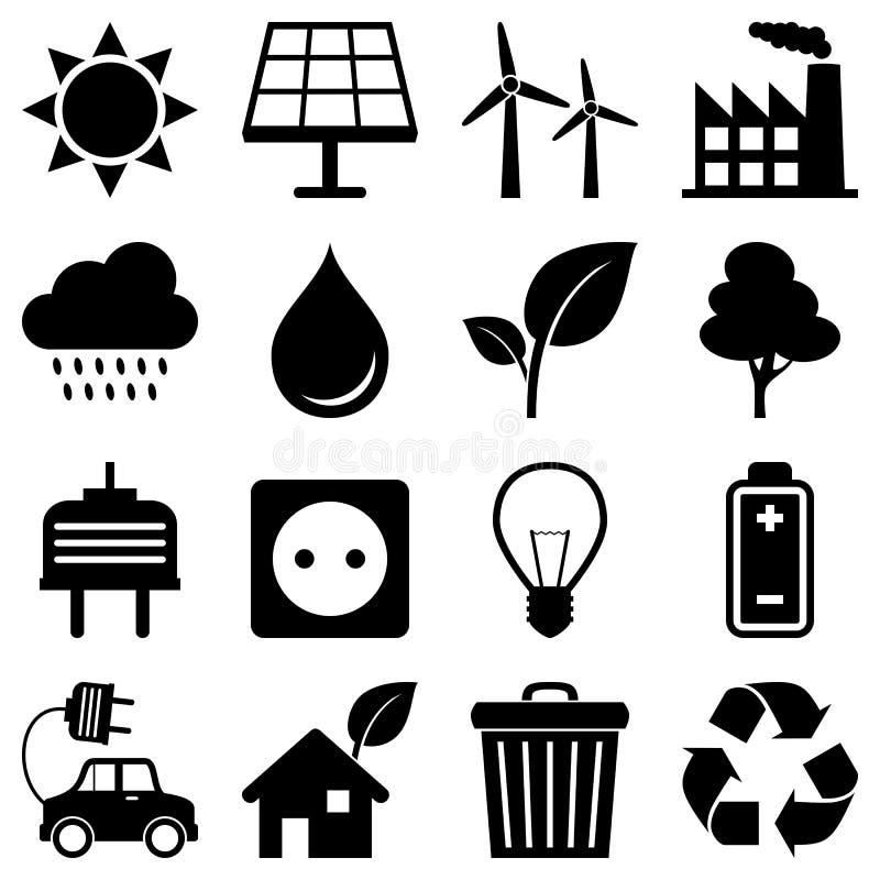 Icone dell'ambiente dell'energia pulita illustrazione vettoriale