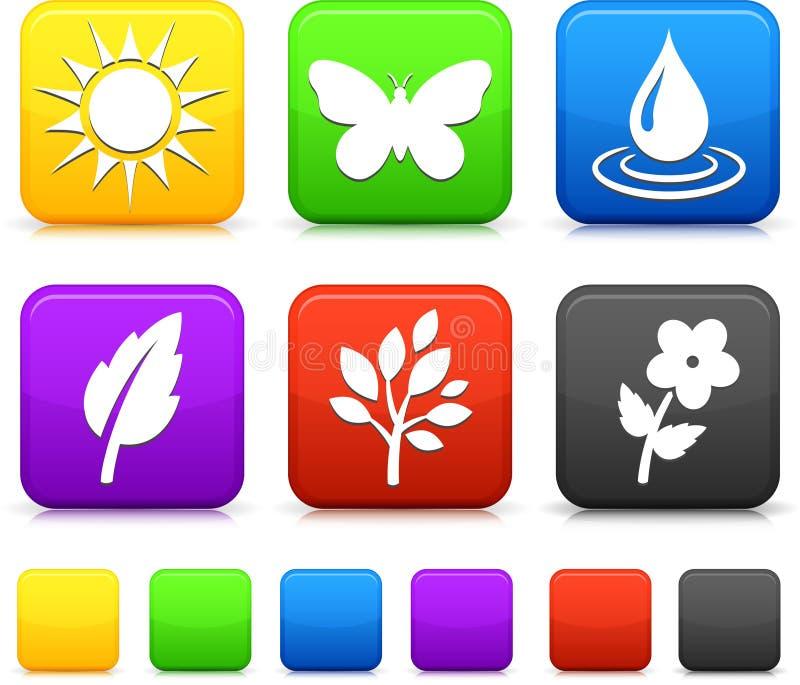 Icone dell'ambiente della natura sui tasti quadrati illustrazione vettoriale