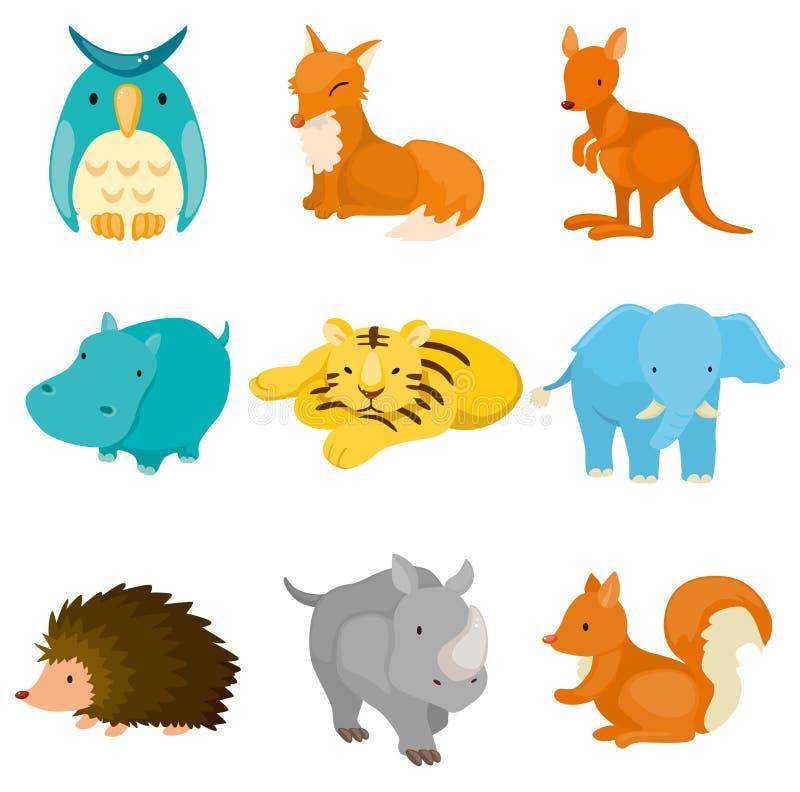 Icone dell'animale del giardino zoologico del fumetto royalty illustrazione gratis