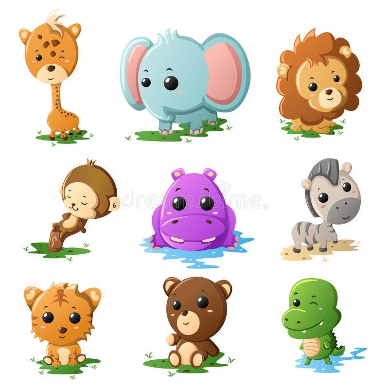 Icone dell'animale della fauna selvatica del fumetto illustrazione di stock