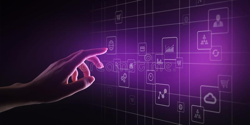 Icone dell'applicazione sullo schermo virtuale Concetto di affari e di tecnologia fotografie stock