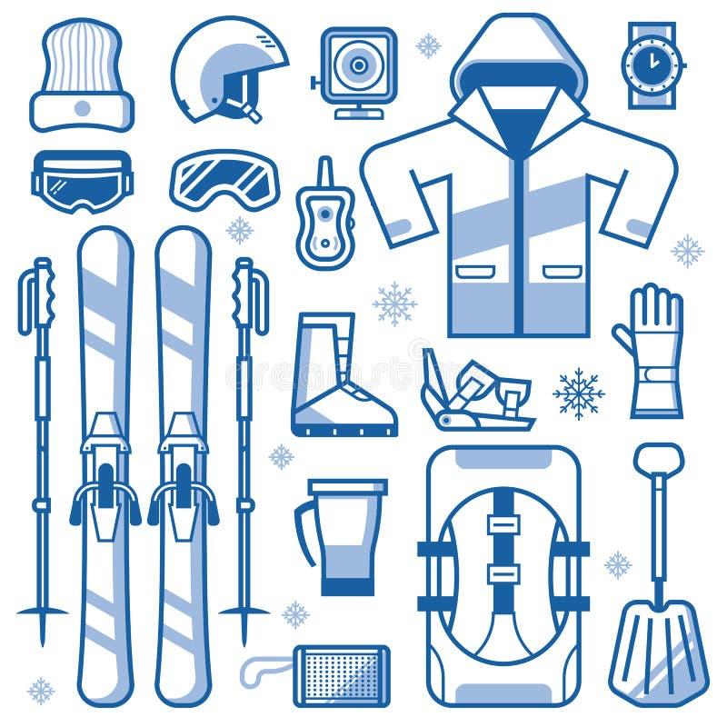 Icone dell'attrezzatura di corsa con gli sci messe royalty illustrazione gratis