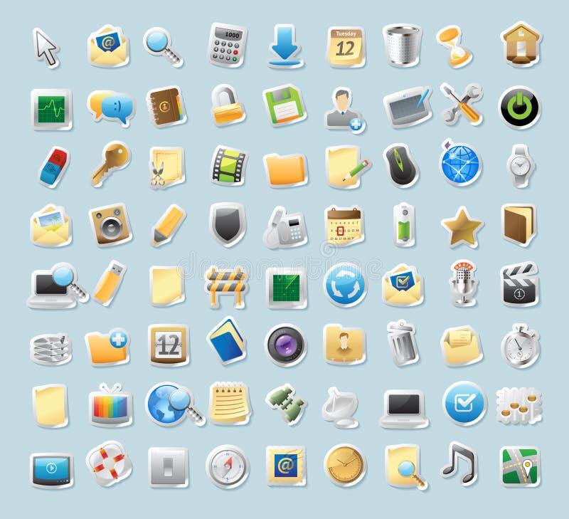 Icone dell'autoadesivo per i segni e l'interfaccia illustrazione di stock