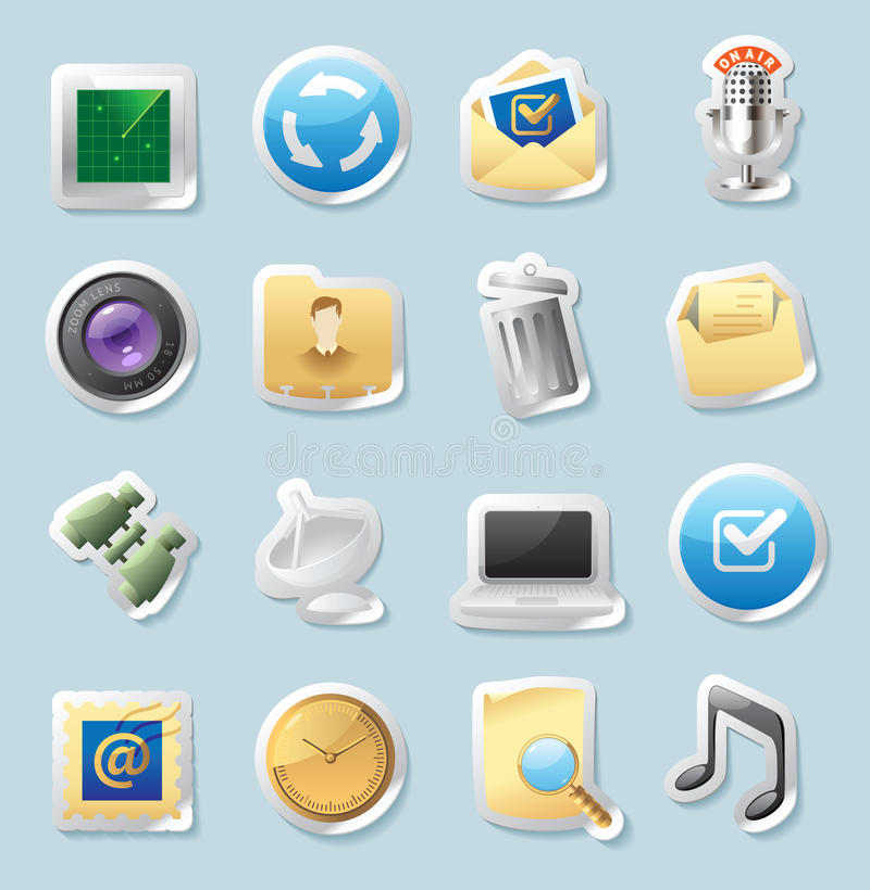 Icone Dell Autoadesivo Per I Segni E L Interfaccia Immagine Stock