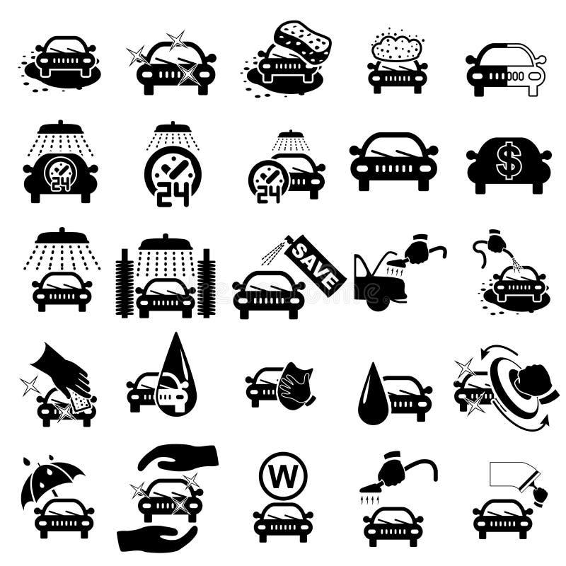 Icone dell'autolavaggio messe illustrazione vettoriale