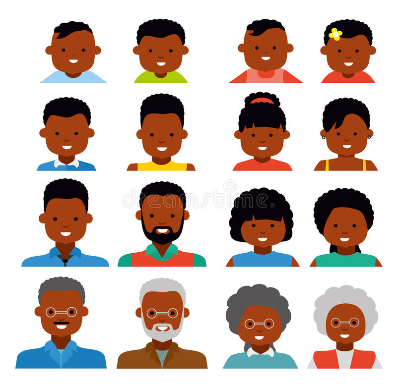 Icone dell'avatar piano Gente etnica afroamericana Generazioni della gente alle età differenti royalty illustrazione gratis