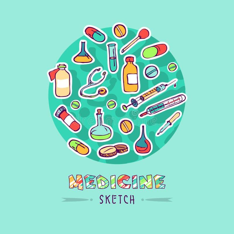 Icone dell'erba medica di schizzo di scarabocchio royalty illustrazione gratis