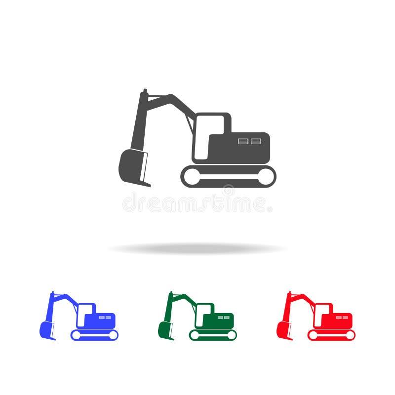 Icone dell'escavatore del cingolo Elementi dell'elemento di trasporto nelle multi icone colorate Icona premio di progettazione gr illustrazione di stock