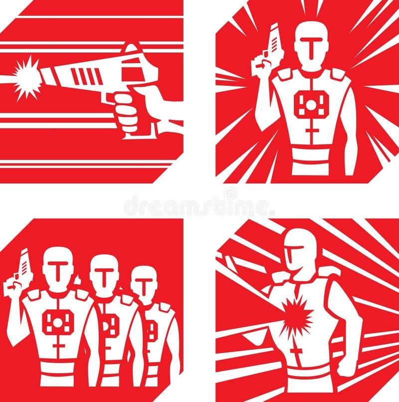 Icone dell'etichetta del laser illustrazione vettoriale