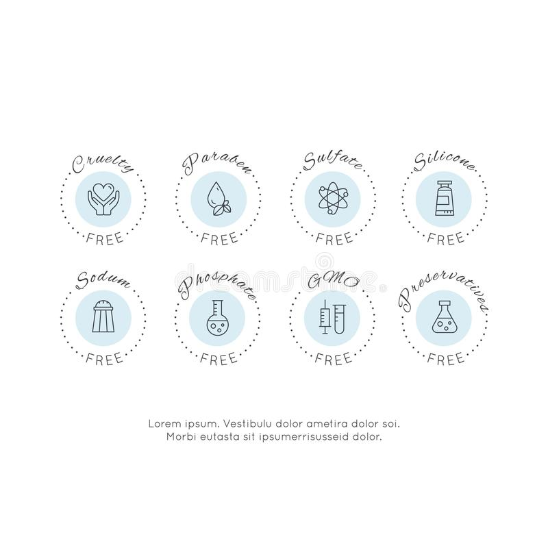Icone dell'etichetta di Logo Set Badge Ingredient Warning dell'illustrazione GMO, SLS, Paraben, crudeltà, solfato, sodio, fosfato illustrazione vettoriale